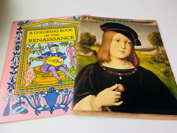 Set of 2 1972 Bellerophon Books Renaissance Themed Coloring Book
