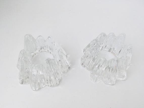 Glass Candleholders, Pair of Mid-Century Modern Nybro Sweden Volcano