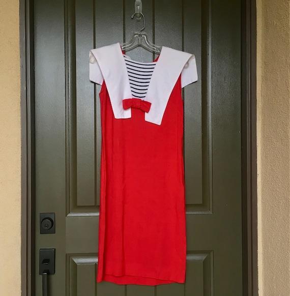 Vintage Nautical Dress/Vintage Red Nautical Dress/Vintage Size S Nautical Dress/Vintage Size S Dress/Melo Of California/Vintage Sailor Dress