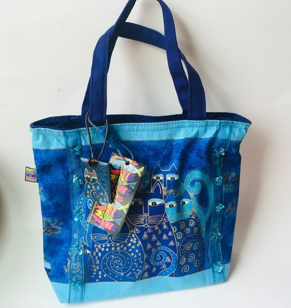 Vintage Laurel Burch Blue Cats Small Tote Bag