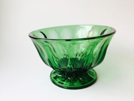 Vintage Emerald Green Glass Pedestal Bowl