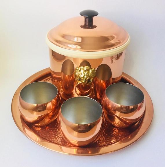 Coppercraft Guild Bar Set/Copper Bar Set/Copper/Copper Ice Bucket/Glam Bar Accessories/Bar Set/Made In USA/Lions Head