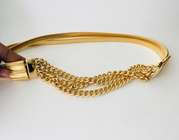Vintage Accessocraft N.Y.C. Gold Tone Mesh & Chain Belt