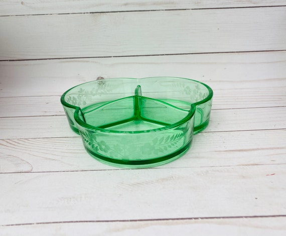 Vintage Green Glass Candy Dish- Divided Green Glass Dish
