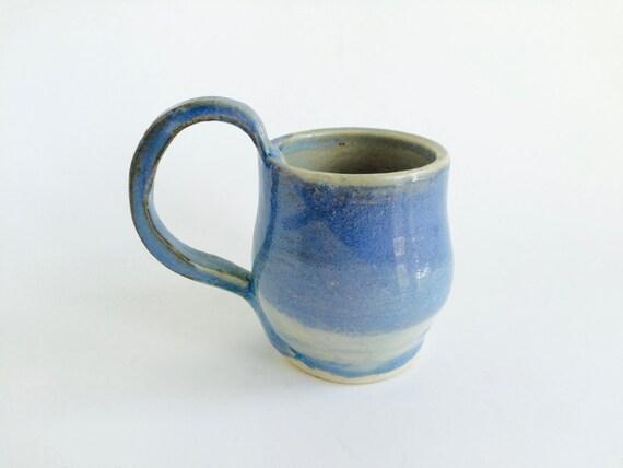 Blue Clay Mug--Blue Stoneware Mug--Handmade Mug