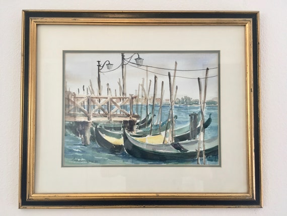 Framed Original Watercolor Painting of Venice