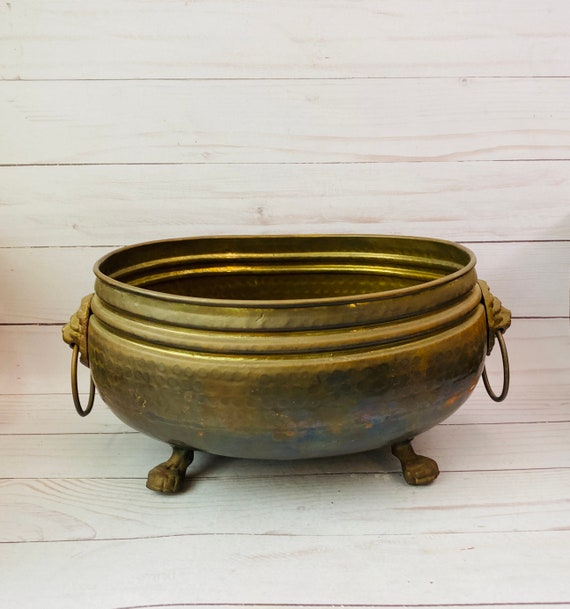 Vintage Brass Footed Pedestal Planter----Indoor Planter--Brass Claw Foot Planter