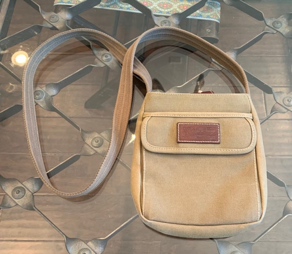 Vintage Fossil Canvas & Leather Crossbody Bag