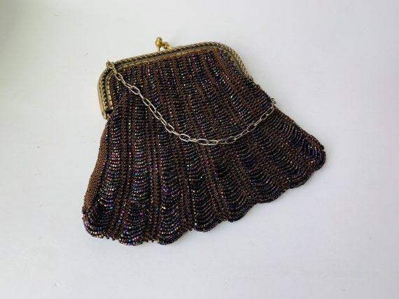 Vintage Brown Beaded Purse