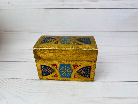 Vintage Florentine Box Deck Of Cards Holder- Deck Of Cards Box--Florentine
