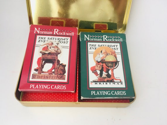 Vintage Norman Rockwell Christmas Double Deck Of Cards In Tin Made In The USA