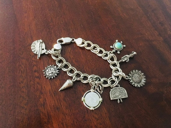 Vintage Italian Silver 925 Charm Bracelet With Charms