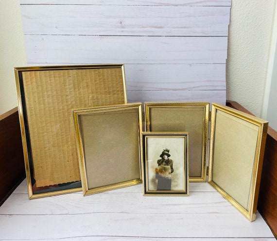 Set of 3 Vintage Brass Frames--Trifold Brass Frame--Rectangular Brass Frames