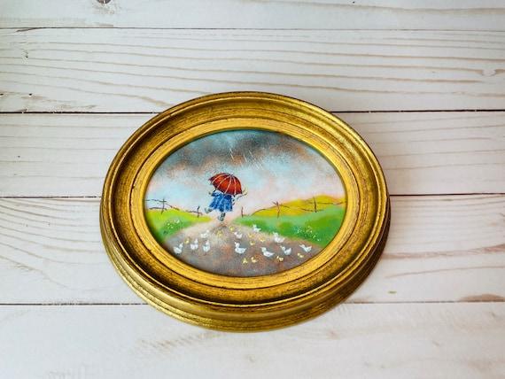Ceramic Plaque Painting--Vintage Rainy Day Painting