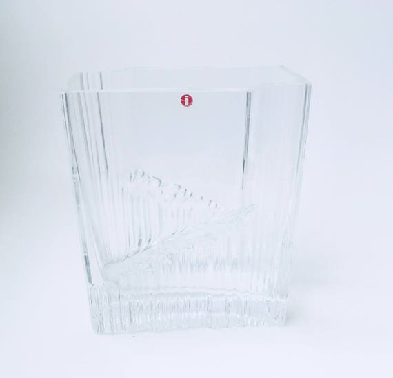 Clear Square Vase, Iittala MCM Tapio Wirkkala Rectangular from Finland