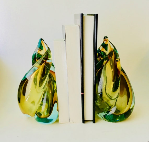 Vintage Glass Bookends