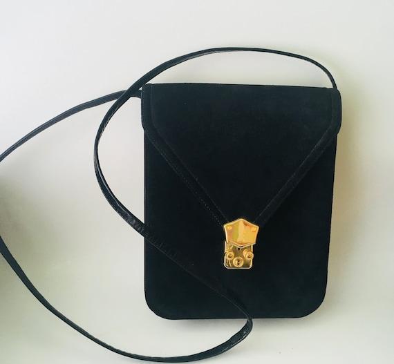 Vintage Black Suede & Leather Handbag With Shoulder Strap