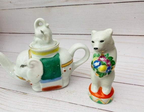 Vintage Mini Elephant Teapot- Vintage USSR Dulevo Bear Figurine- Circus Themed