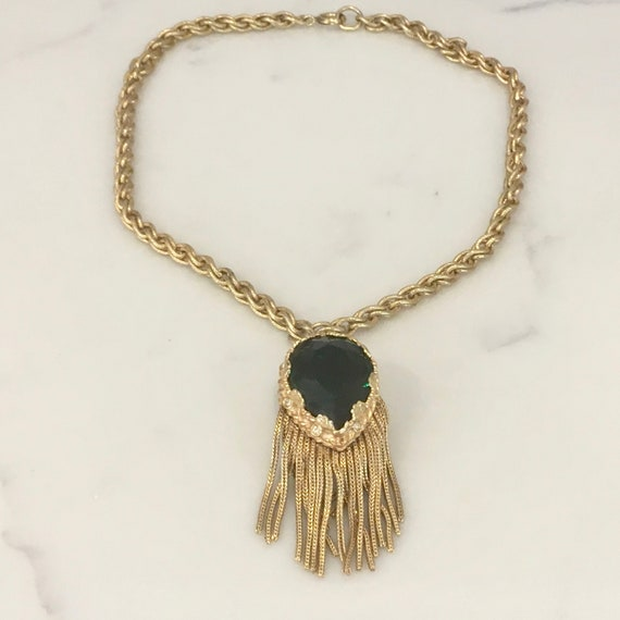 Vintage Faux Emerald And Gold Chain Tassel Choker Necklace