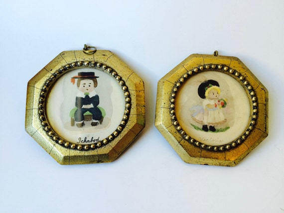 Vintage Victoria and Ichabod Children Framed Art
