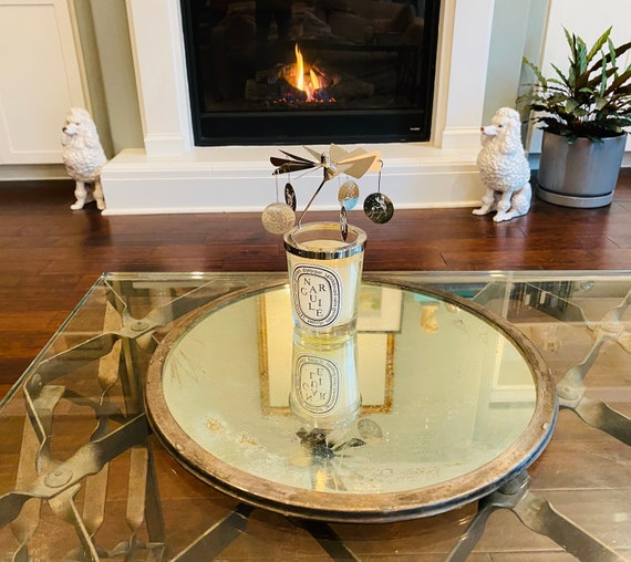 "Vintage 14"" Round Silver Tone Mirrored Tray--Mirrored Tray--Antiqued Mirror--Silver Mirrored Tray"