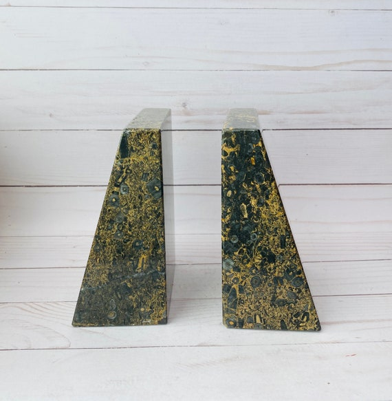 Vintage Fossil Bookends- Stone Bookends