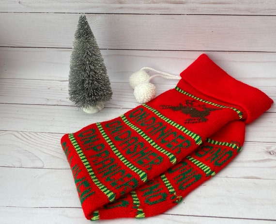 Vintage Machine Knitted Reindeer Christmas Stocking