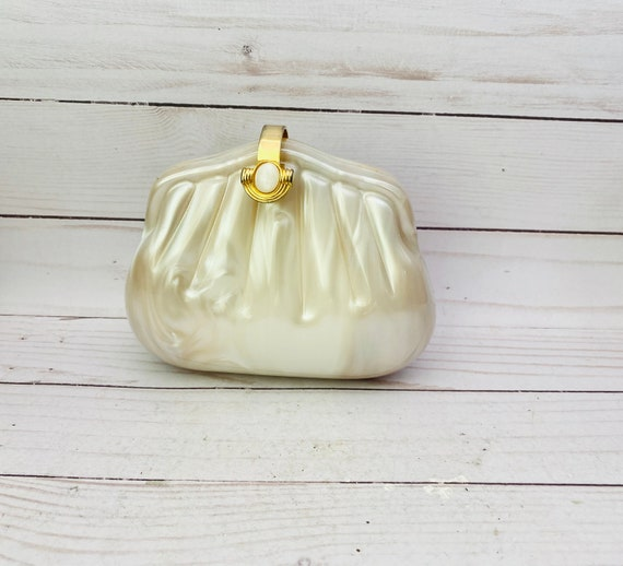 Vintage Micarl Paris Pearlescent Clam Shell Clutch Purse--Clam Handbag--Seashell Clutch