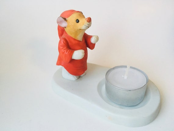 Mouse Tea Light Candle Holder, Made In Korea