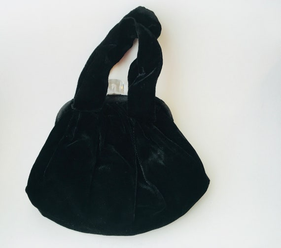 Vintage Black Velvet Handbag With Lucite Clasp