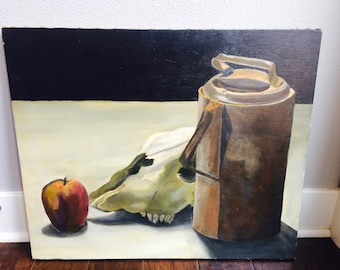 Vintage Original Still Life Painting With Apple & Skull/Vintage Original Painting/Still Life Painting/Acrylic Painting/Skull/Skull Painting