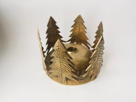 Vintage Brass Pine Trees Taper Candlestick Holder