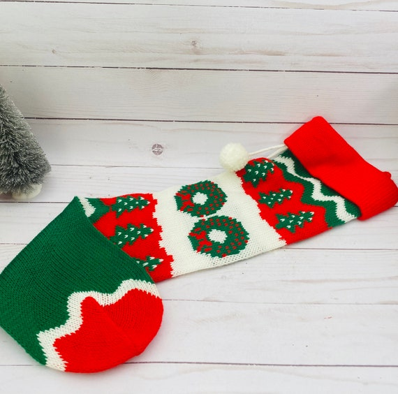 Vintage Machine knitted Christmas Stocking