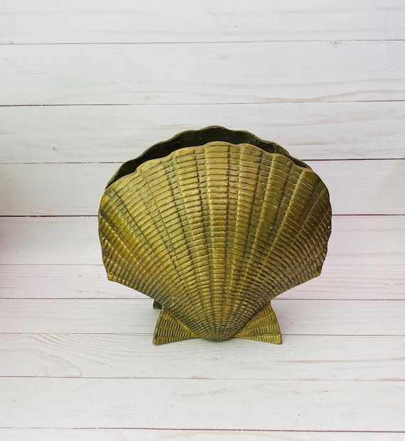 Large Brass Seashell Vase- Brass Shell