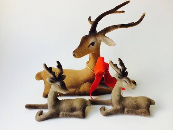 Set Of 3 Vintage Plastic Flocked Deer