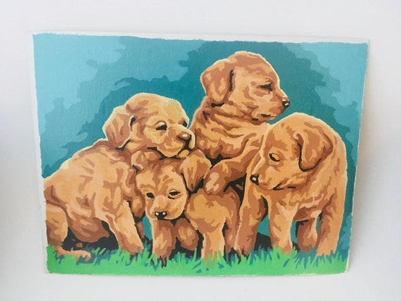 Vintage Puppies Paint By Numbers