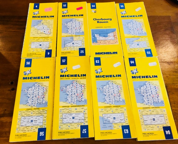 Vintage Lot Of 8 Michelin French Maps