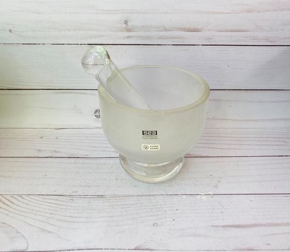 Vintage Bjorn Ramel Mortar & Pestle --Kosta Sweden Glass Mortar And Pestle