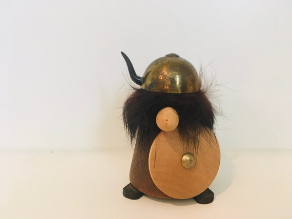 Vintage Mcm Wood Viking Figure With Horned Helmetvikingvintagemcm Home Decormcm Vikingnordicviking Dollwood Viking Figurineman Cave