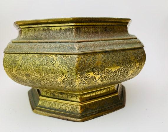 Octagonal Brass Bowl- Etched Brass