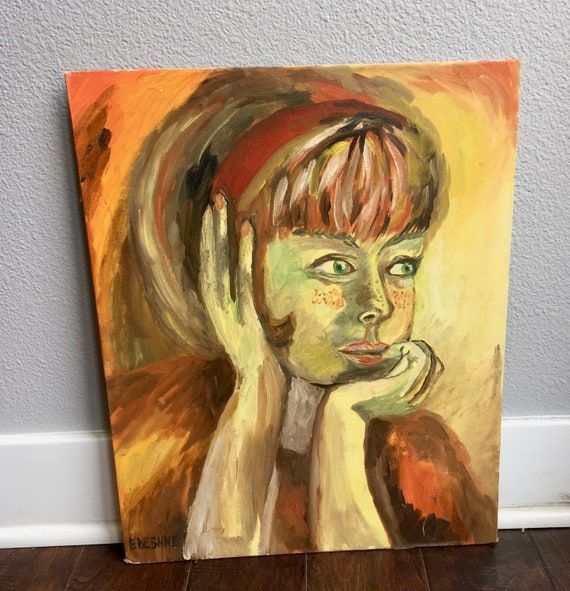 MCM Hand Painted Portrait Of A Girl