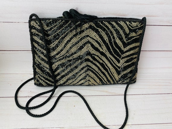 Vintage Saks Fifth Avenue Beaded Purse --Hand Beaded Crossbody--Zebra Print Beaded Bag