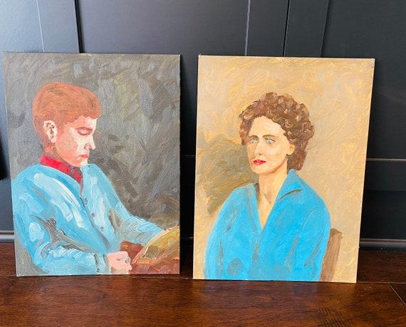 Vintage Original Portrait Painting Of A Woman--Vintage Portrait--Pair Of Portraits