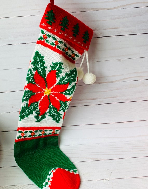 Vintage Machine knitted Christmas Stocking--Poinsettia Stocking
