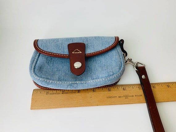 Vintage Dooney & Bourke Blue Wristlet With Leather Trim