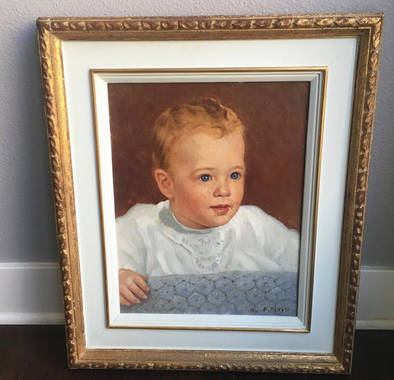 Large Vintage Original Portrait Painting Of A Baby Boy