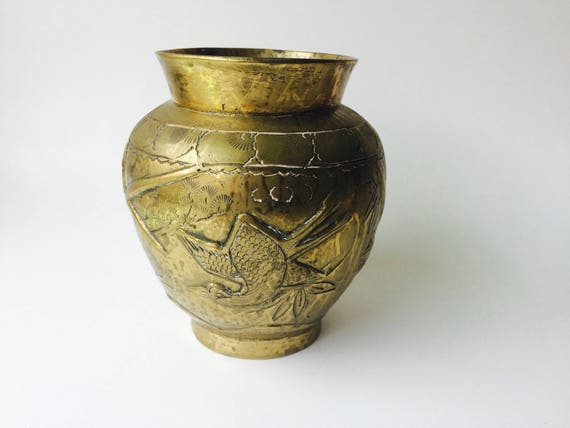 Vintage Brass Asian Vase