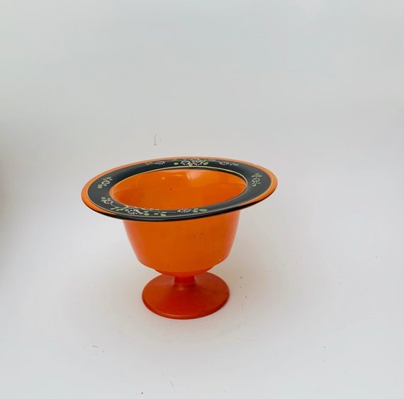 Vintage Orange Glass Pedestal Bowl