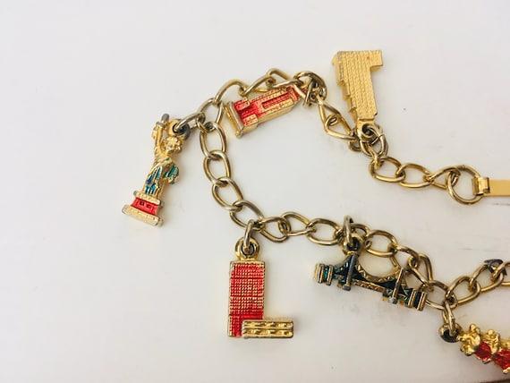 Vintage Charm Bracelet With Architectural Monuments