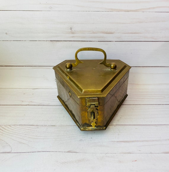 Vintage Brass Box--Hexagonal Bras Box--Diamond Shaped Box